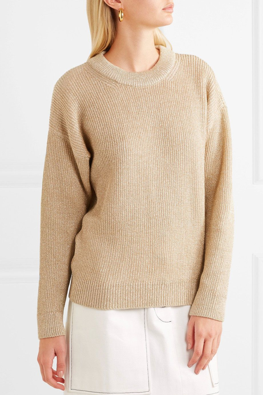 Vanessa Bruno Hodaya Metallic Ribbed-Knit Sweater