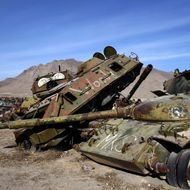 A general overview of a junkyard of Soviet armoured vehicles, planes and tanks at the Kabul Military Training Camp near the capital on January 13, 2010.  The USSR began its invasion of Afghanistan in 1979 and installed more than 10,000 troops to support its puppet prime minister who failed to extend power much beyond Kabul, ending in the withdrawal of the Soviets a decade later. AFP PHOTO/ JOEL SAGET (Photo credit should read JOEL SAGET/AFP/Getty Images)