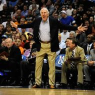 San Antonio Spurs head coach Gregg Popovich yells at his team as they play the Denver Nuggets during the second half on Wednesday, March 23, 2011 at the Pepsi Center.