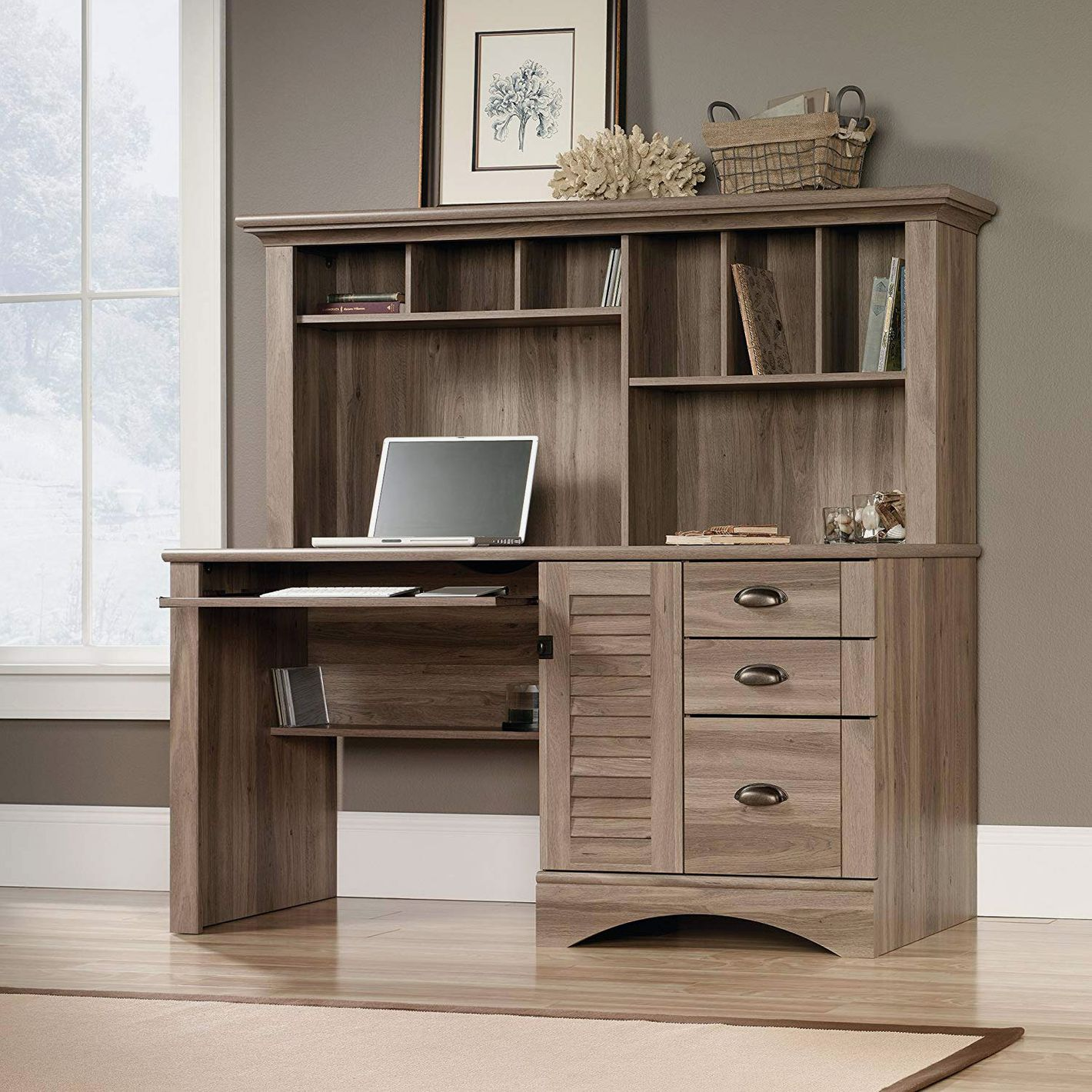 Sauder 415109 Harbor View Computer Desk With Hutch