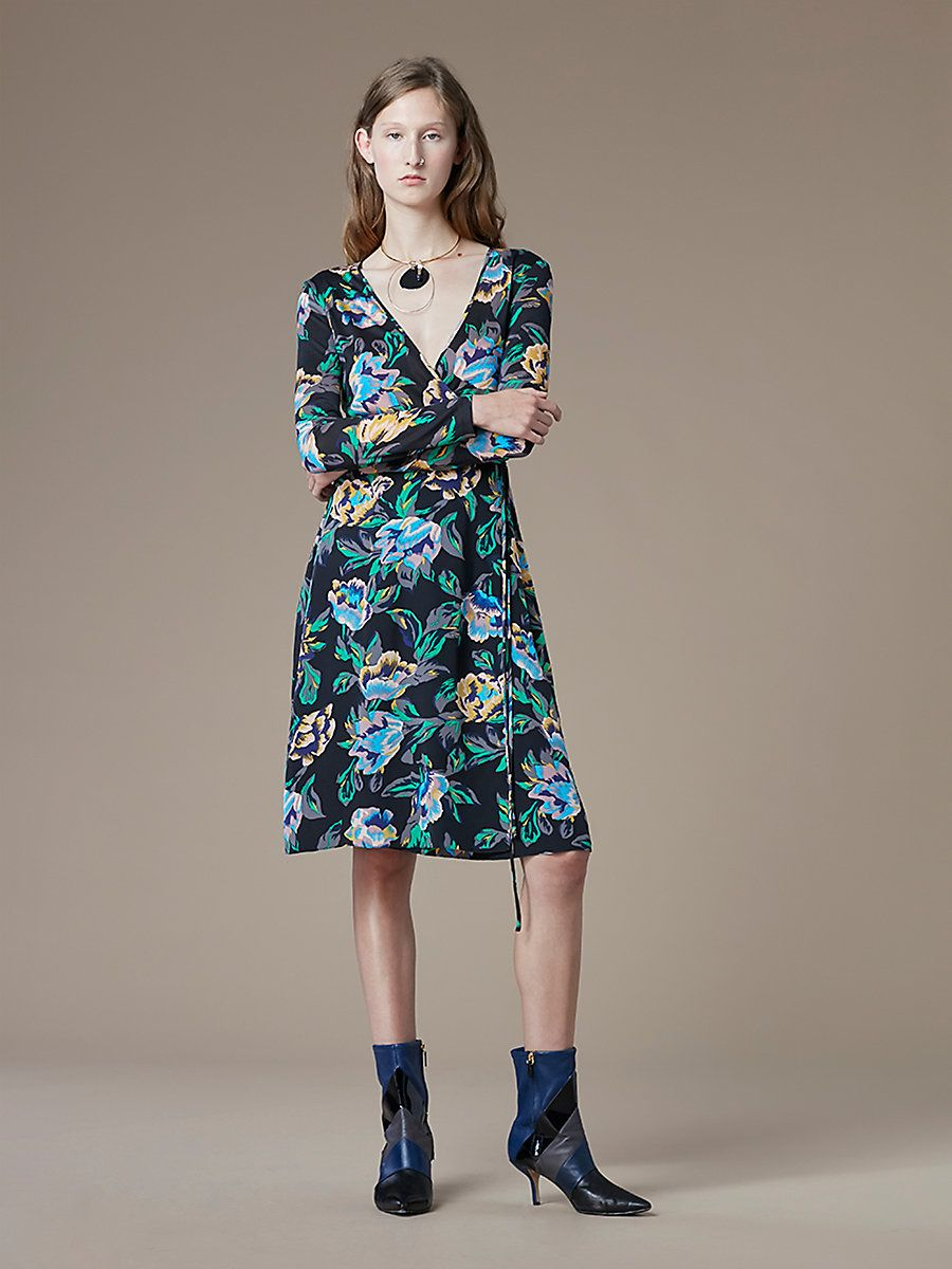 Long-Sleeve Silk Jersey Wrap Dress, Benton Black