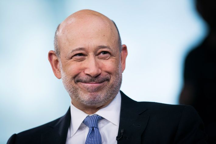 Lloyd Blankfein, chief executive officer of Goldman Sachs Group Inc., smiles during a Bloomberg Television interview in New York, U.S., on Tuesday, June 3, 2014.