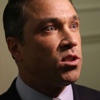 WASHINGTON, DC - APRIL 29: U.S. Rep. Michael Grimm (R-NY) comes out of his office to speak to members of the media April 29, 2014 on Capitol Hill in Washington, DC. Rep. Grimm pleaded not guilty on Monday in a federal court to a 20-count indictment including wire and mail fraud, perjury, hiring unauthorized aliens and filing false tax returns. (Photo by Alex Wong/Getty Images)
