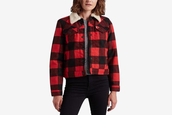 Levi's Plaid Sherpa-Collar Jacket
