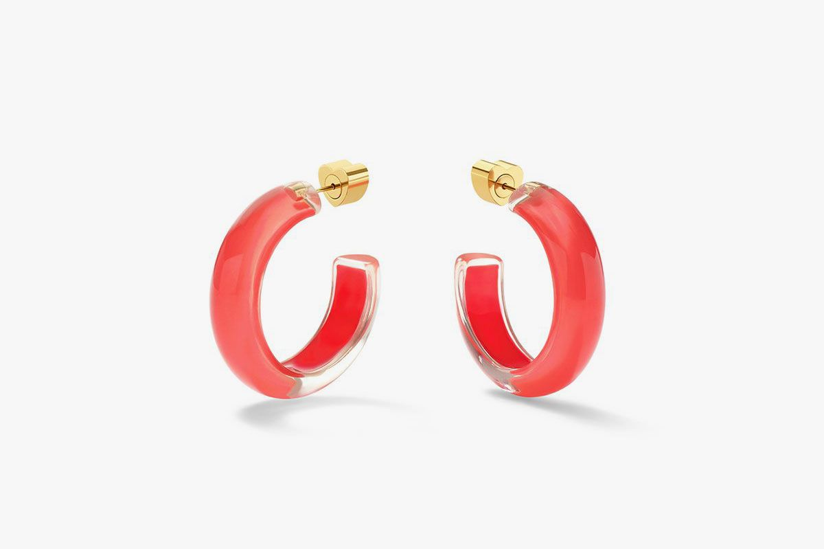 Small Jelly Hoops in Coral
