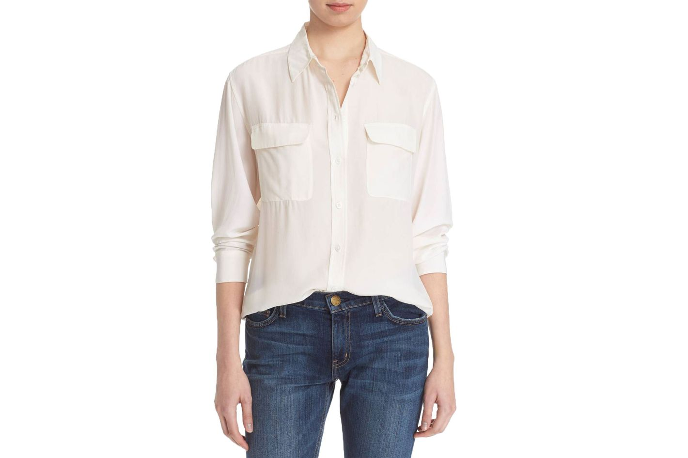 54b4e3eea4a31e best white button down for women. Signature Silk Shirt. ""