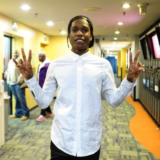 Rapper A$AP Rocky appears on BET's 106 And Park 2013 New Years Eve Party at BET Studios on December 17, 2012 in New York City.