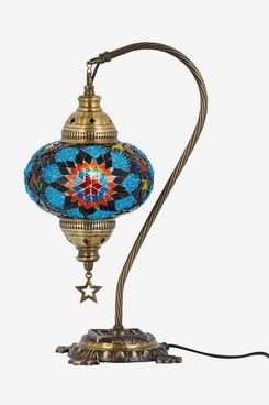 BOSPHORUS Handmade Swan Neck Turkish Moroccan Mosaic Glass Table Desk Bedside Lamp