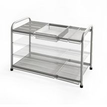 ORG™ 2-Tier Mesh Expandable Under-Sink Shelf, Silver