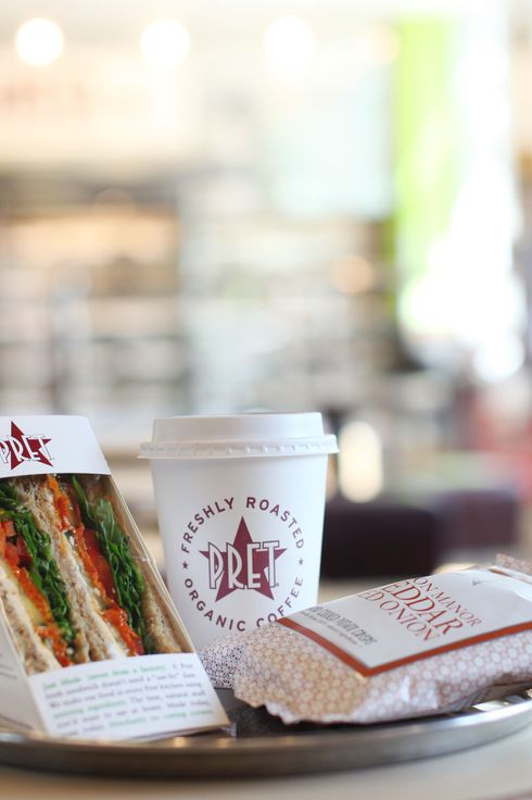 A Pret A Manger meal sits on a table at the company's restaurant in London.