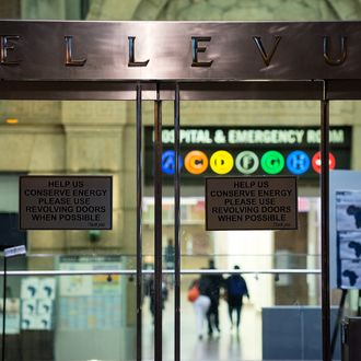 NEW YORK, NY - OCTOBER 23, 2014: A health alert is displayed at the entrance to Bellevue Hospital October 23, 2014 in New York City. After returning to New York City from Guinea where he was working with Doctors Without Borders treating Ebola patients, Dr. Craig Spencer was quarantined after showing symptoms consistent with the virus. Spencer was taken to Bellevue hospital to undergo testing. (Photo by Bryan Thomas/Getty Images)