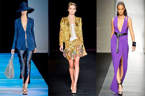 From left: spring looks from Giorgio Armani, Roberto Cavalli, and Gianfranco Ferré