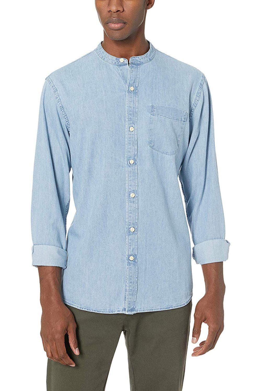 182f19fc8683 Amazon Brand Goodthreads Men's Standard-Fit Long-Sleeve Band-Collar Denim  Shirt