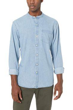 Amazon Brand Goodthreads Men's Standard-Fit Long-Sleeve Band-Collar Denim Shirt light Blue