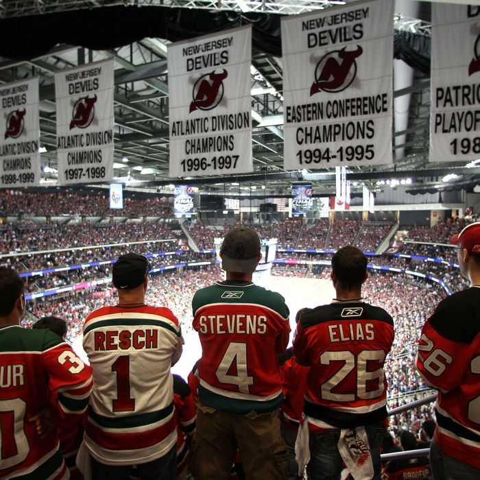 New Jersey Devils fans cheer in the stands during Game One of the 2012 NHL Stanley Cup Final against the Los Angeles Kings
