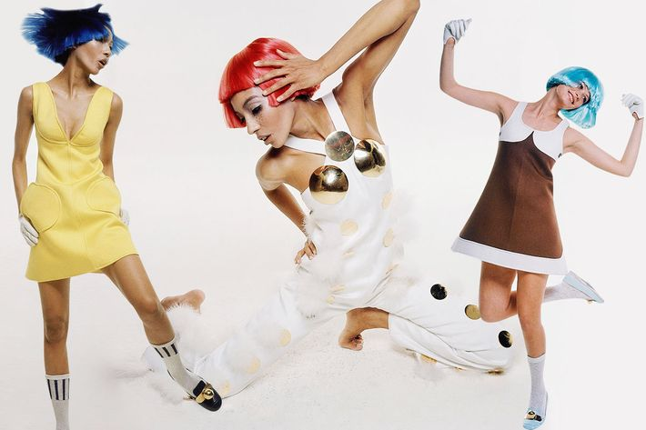 Looks from Courreges photographed by Bert Stern.