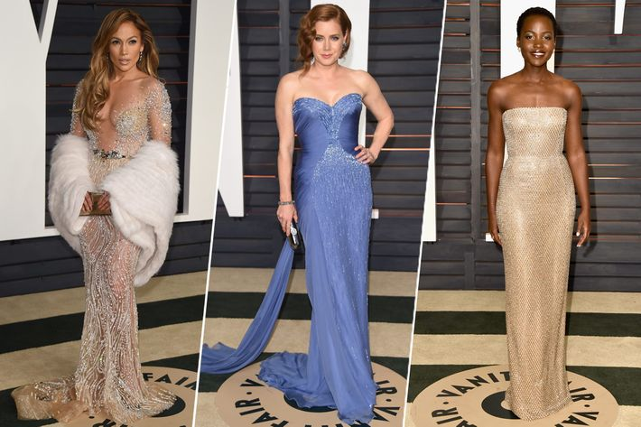 Jennifer Lopez, Amy Adams, and Lupita Nyong'o. Photo: Getty Images.