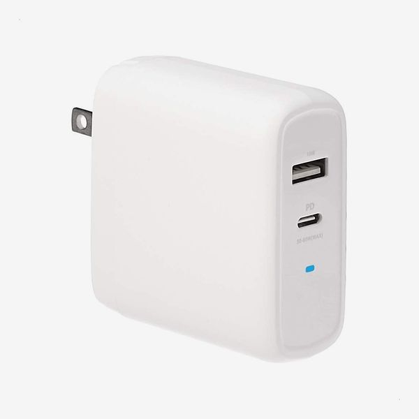 Amazon Basics 68W Two-Port GaN Wall Charger with 1 USB-C Port and 1 USB-A Port
