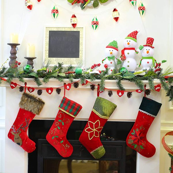 Valery Madelyn 21 inch Traditional Holly Leaves Christmas Stockings with Red Green Tartan Cuff