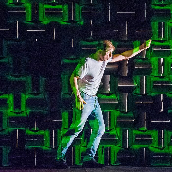 Simon McBurney in The Encounter by Complicite @ Barbican Theatre. Directed by Simon McBurney.(Opening-17-02-16)©Tristram Kenton 02/16(3 Raveley Street, LONDON NW5 2HX TEL 0207 267 5550 Mob 07973 617 355)email: tristram@tristramkenton.com