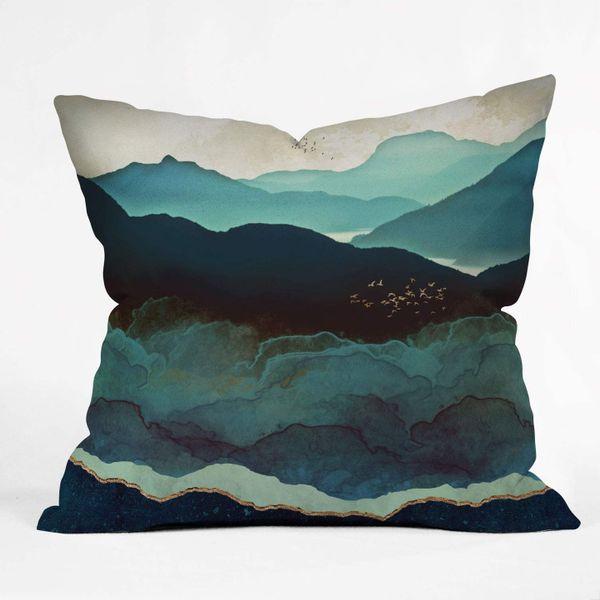 Society6 Space Frog Designs Indigo Mountains Indoor Throw Pillow, 16