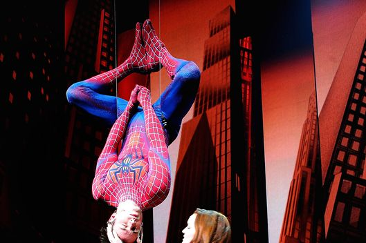 "Reeve Carney and Jennifer Damiano on stage at ""Spider-Man Turn Off The Dark"" Broadway opening night at Foxwoods Theatre on June 14, 2011 in New York City."