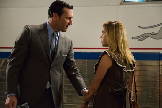 Jon Hamm as Don Draper and Kiernan Shipka as Sally Draper - Mad Men _ Season 7B, Episode 10 - Photo Credit: Michael Yarish/AMC
