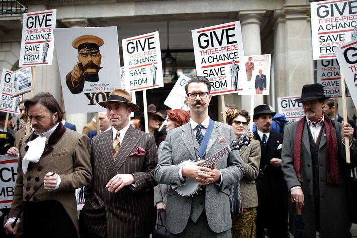 Abercrombie protesters on Savile Row.