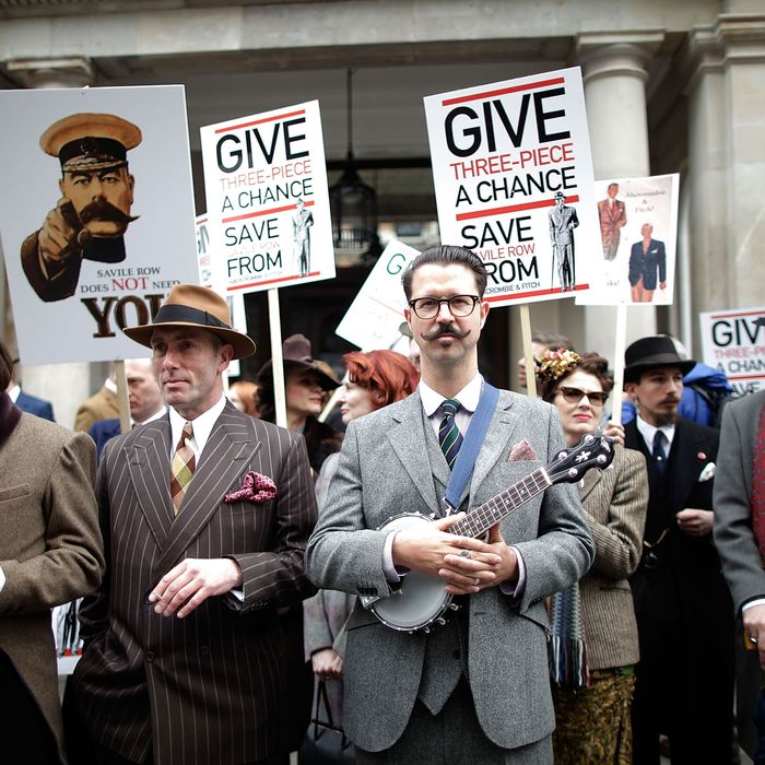 Abercrombie protesters on Savile Row.
