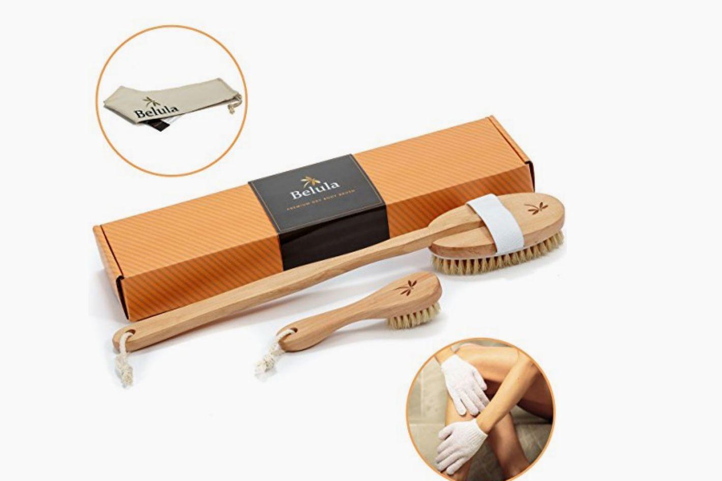 Premium Dry Brushing Body Brush Set- Natural Boar Bristle Body Brush
