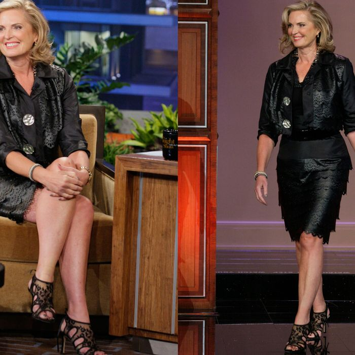 Ann Romney's black leather.