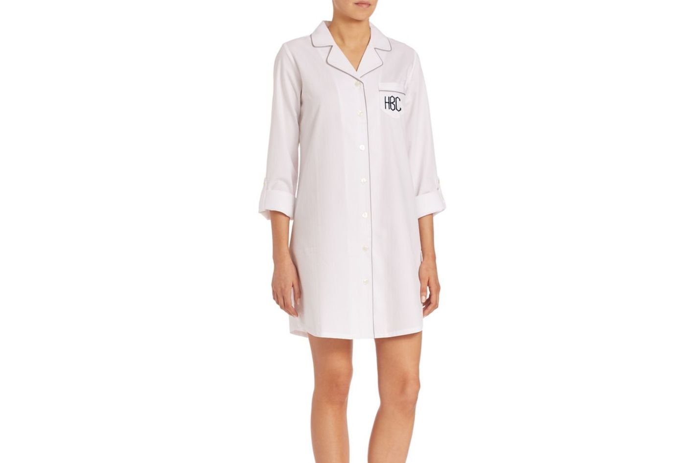 Saks Fifth Avenue Collection Personalized Herringbone Jacquard Sleepshirt