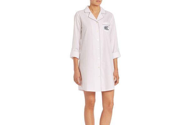 Saks Fifth Avenue Collection Personalized Herringbone Jacquard Sleepshirt