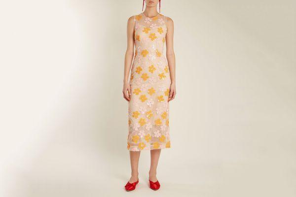 Simone Rocha Embellished-Tulle Sleeveless Dress