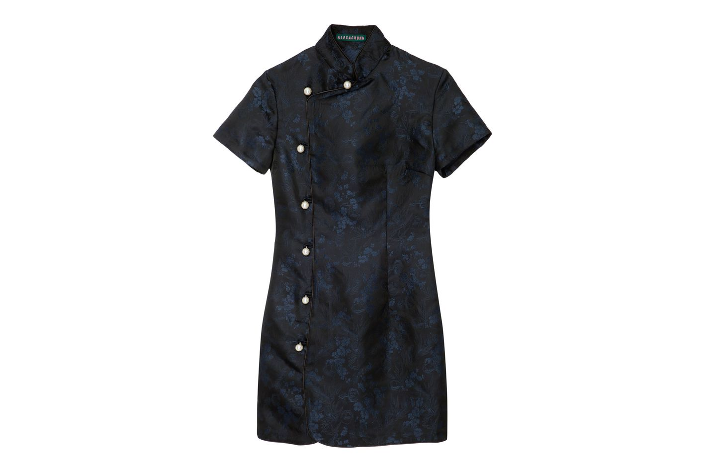 ALEXACHUNG Floral Jacquard Mandrain Collar Dress