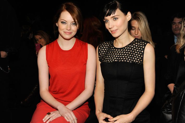 Emma Stone and Rooney Mara at the Calvin Klein Collection Fall 2012 show.