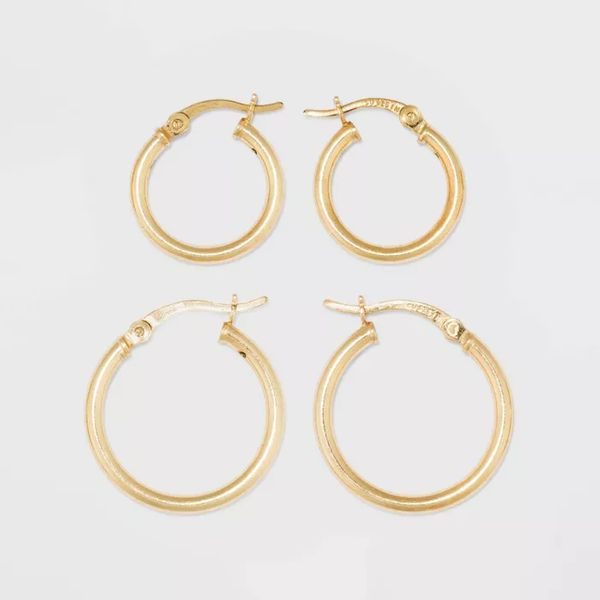 A New Day™ Gold Over Sterling Silver Hoop Fine Jewelry Earring Set
