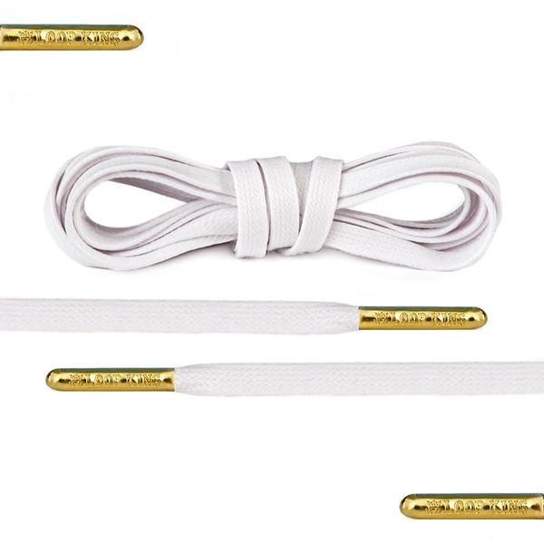 Loop King Luxury White Flat Waxed Shoelaces with Gold Metal Tips
