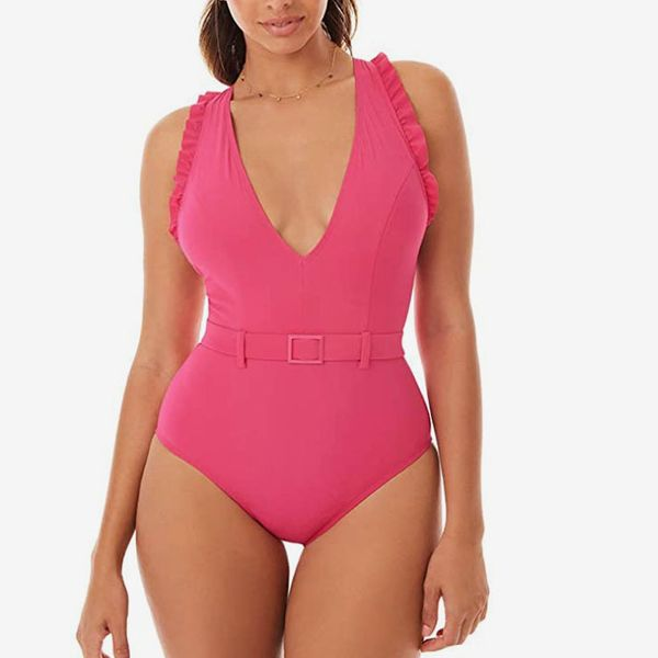 dwwaw Pinks Womens One Piece Swimsuits Deep V Neck V Back Plunge Pink Monokini Tummy Control Swimwear