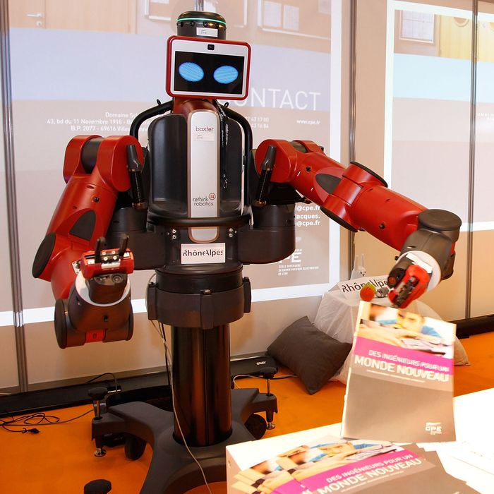 A BAXTER manufacturing robot on display at Innorobo International Robotics trade show on March 18, 2014 in Lyon, France.