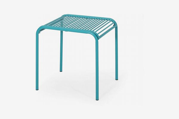 Great Deal Furniture Samantha Outdoor Modern Iron Side Table, Matte Teal