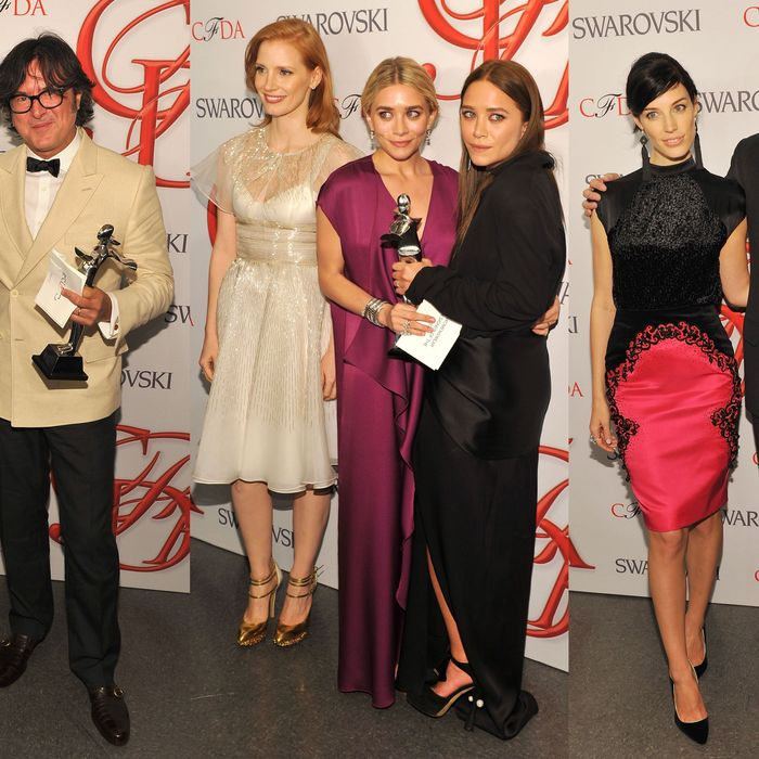 From left: Matt Bomer with Billy Reid, Jessica Chastain with Ashley and Mary-Kate Olsen, and Jessica Paré with Reed Krakoff.
