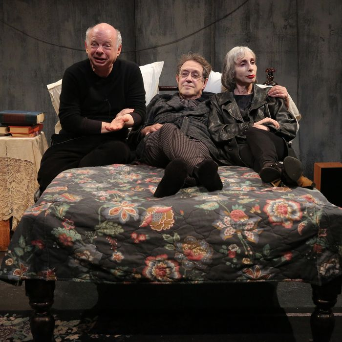 Wallace Shawn, Larry Pine, and Deborah Eisenberg in The Designated Mourner, written by Wallace Shawn and directed by Andr? Gregory, a co-production with Theatre for a New Audience, running through August 25 at The Public Theater at Astor Place. Photo credit: Joan Marcus.