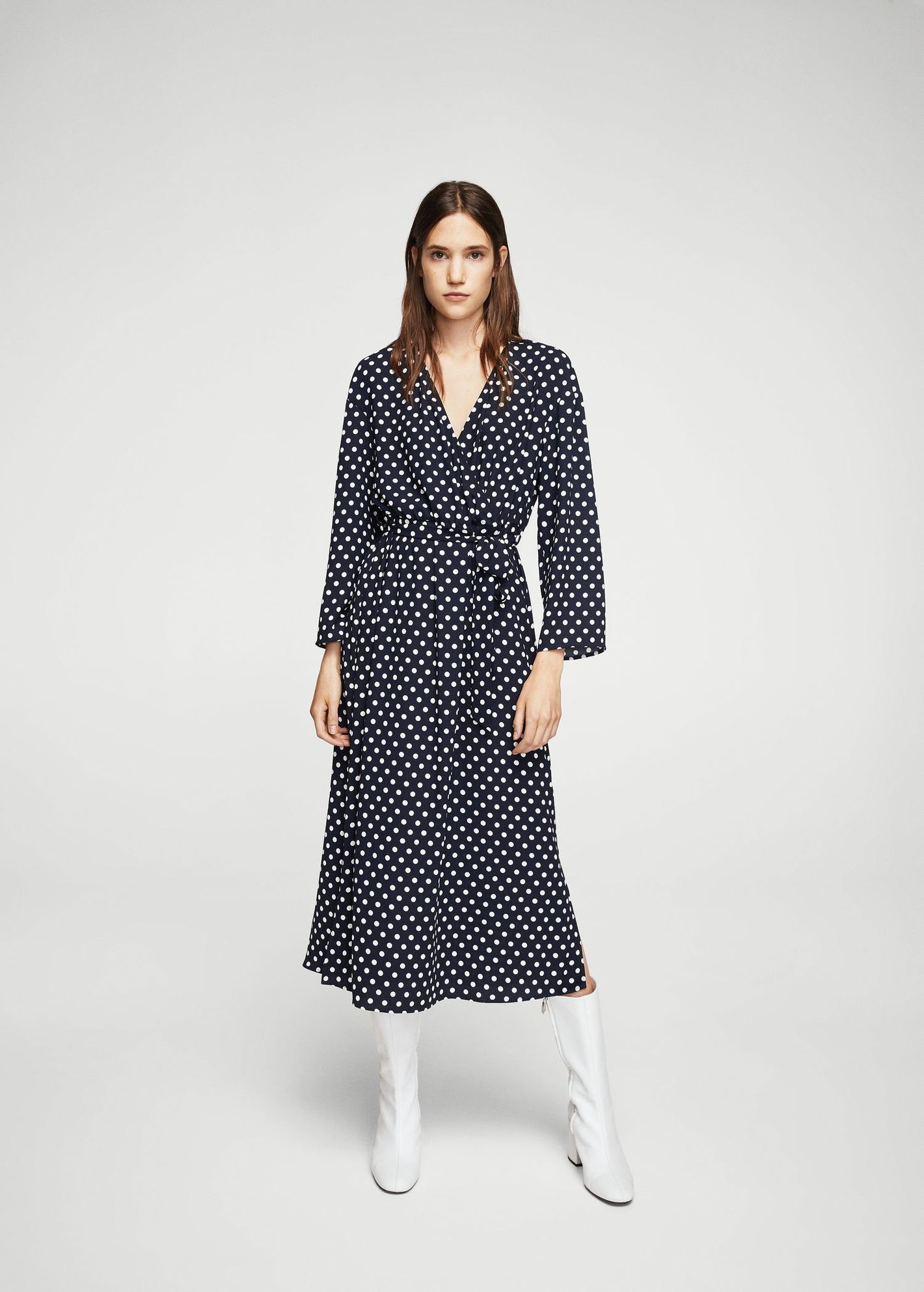 Mango Wrap Polka Dot Dress