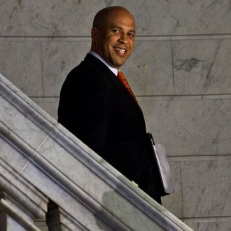 NEWARK, NJ - OCTOBER 21: Newark Mayor and newly-elected U.S. Senator Cory Booker arrives to preside over marriages of gay, lesbian and straight couples at City Hall in the early morning hours of October 21, 2013 in Newark, New Jersey. Same-sex couples were allowed to legally wed at 12:01 am on Monday across New Jersey, making the state the 14th to allow same-sex marriages. Following Friday's ruling by the New Jersey Supreme Court, Mayor Cory A. Booker will marry seven gay, lesbian, and straight couples at City Hall in Newark on Monday morning. (Photo by Kena Betancur/Getty Images)