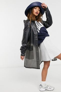 Rains Transparent Hooded Coat in Black