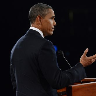 U.S. President Barack Obama speaks during the Presidential Debate at the University of Denver on October 3, 2012 in Denver, Colorado. The first of four debates for the 2012 Election, three Presidential and one Vice Presidential, is moderated by PBS's Jim Lehrer and focuses on domestic issues: the economy, health care, and the role of government.