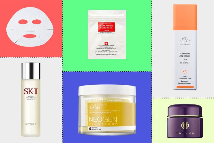 collage of neogen bio-peel, sk-II facial treatment essence, sk-II facial treatment mask, drunk elephant c-firma day serum, tatcha indigo soothing triple recovery cream, and cosrx pimple patches - strategist best skin care products and best skin care routine