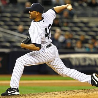 Mariano Rivera #42 of the New York Yankees pitches against the Baltimore Orioles during their game on April 30, 2012 at Yankee Stadium in the Bronx borough of New York City.