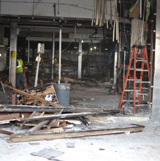The interior is stripped down to the bare walls.